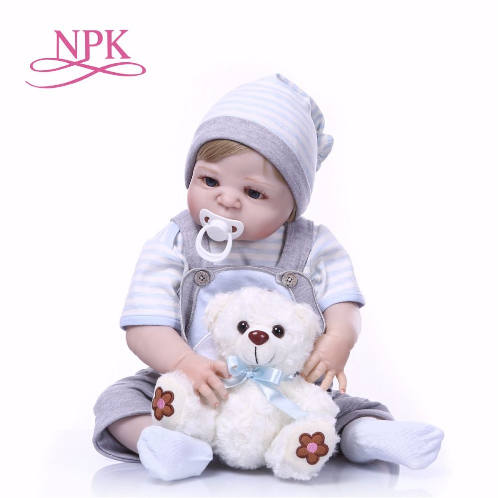 NPK New Arrival Baby Reborn Dolls Toy Full Silicone Vinyl 23''cm Real Life Bebe Reborn Alive Doll Hot toys for girls bear