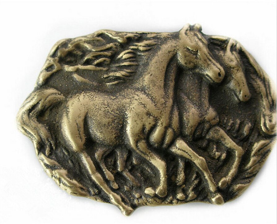 Retail Wholesale Western Cowboy Vintage Solid Brass Horse Belt Buckle For 4 0cm Wide Belt Classic