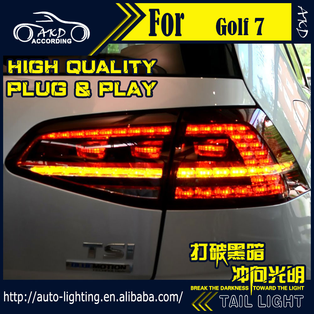AKD Car Styling Tail Lamp for VW Golf 7 Tail Lights Golf7 R20 LED Tail Light Running Signal LED DRL Stop Rear Lamp Accessories