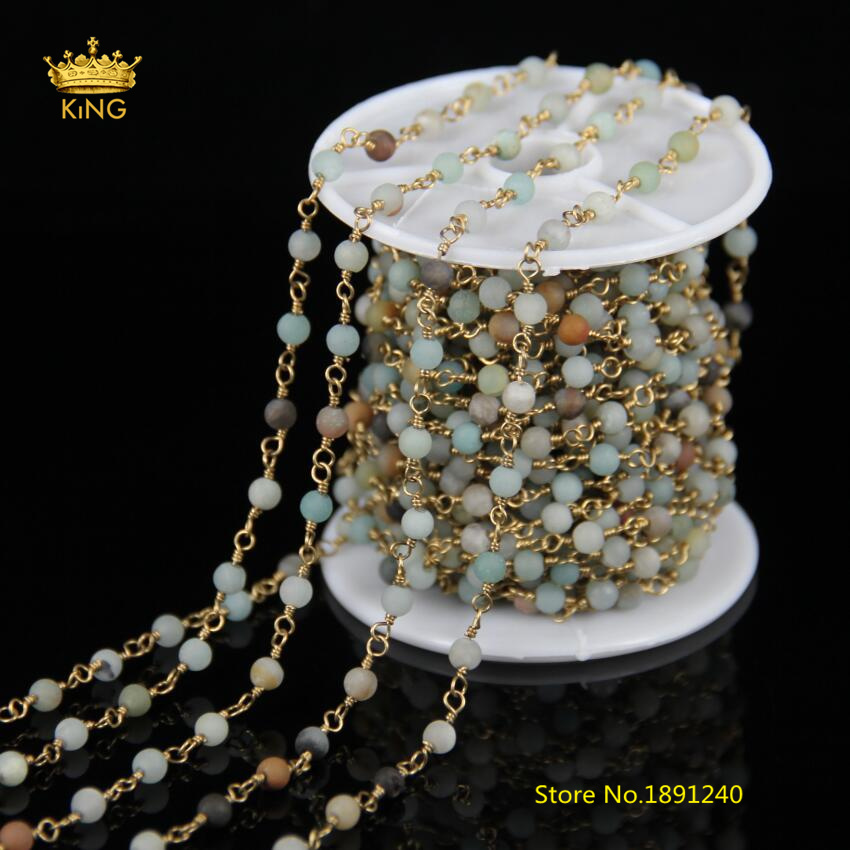 5Meter 4mm Matted Frosted Natural Amazonite Rosary Chains,Wire Wrapped Round Stones Plated Brass Copper Chains for Bracelet ZJ265Meter 4mm Matted Frosted Natural Amazonite Rosary Chains,Wire Wrapped Round Stones Plated Brass Copper Chains for Bracelet ZJ26