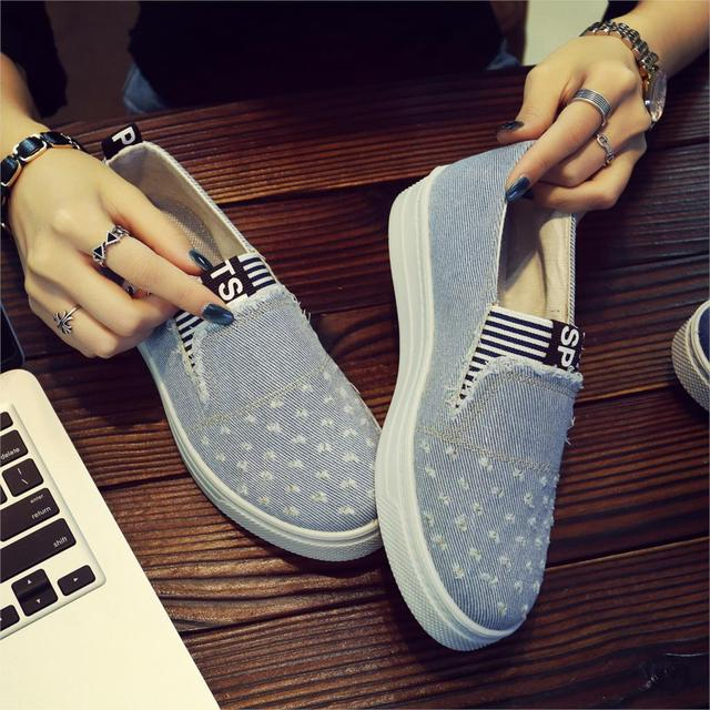 Women Canva Sneakers Shoes Spring Denim Shoes Female Flats Gril Students Casual Classic Shoes New Jeans Feminino Zapatos Mujer