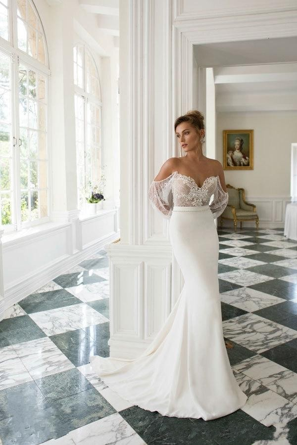 2c664d6d13f5 Julie Vino 2015 Wedding Dresses Sexy Sheer Off the Shoulder Lace Poet  Sleeves Appliques Backless Bridal Gowns GL