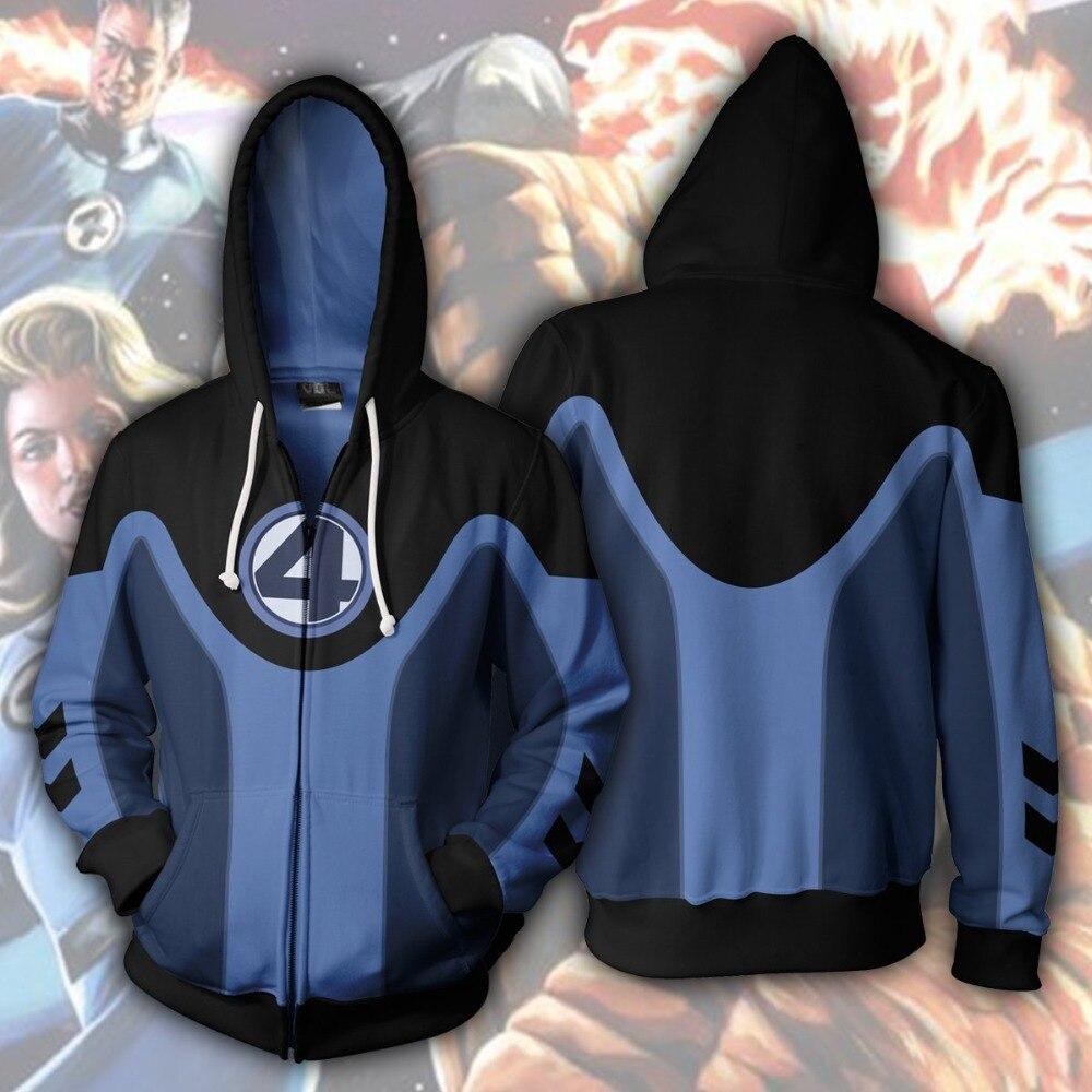 Ultimate Fantastic Four Superhero Zip Up Hoodie 2019 New 3D Print Hoodies Sweatshirts Cosplay Hooded Casual Coat Jacket