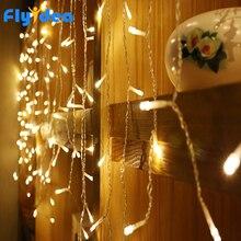 سلسلة إضاءة ليد على شكل جليد بطول 3.5 متر 220 فولت 110 فولت لإضاءة حفلات الكريسماس حديقة جارلاند مقاومة للماء السنة الجديدة تزيين جنية بمقبس من الاتحاد الأوروبي/الولايات المتحدة