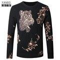 Tigre estilo chinês padrão de qualidade macio e confortável camisola de malha 2016 Outono & Inverno nova boutique de moda camisola dos homens M-4XL