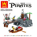 Large Pirates 251pcs TABOO ISLAND Pirate Ship Building Blocks Set Educational Toys Kids Gift Bricks Compatible With Lego Wange
