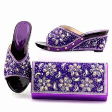 Top sale purple women pumps with big crystal and rhinestone for dress african shoes match handbag set K052 capputine new arrival rhinestone women shoes and purse set african summer high heels shoes and bag set for party dress yk 002
