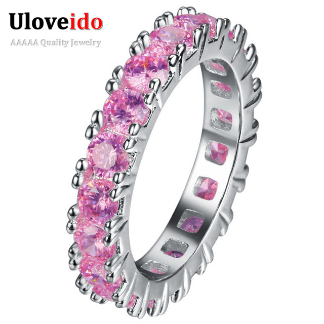 Uloveido Rings for Women Jewelry Silver Color Pink Ring with Stone Ring Female W