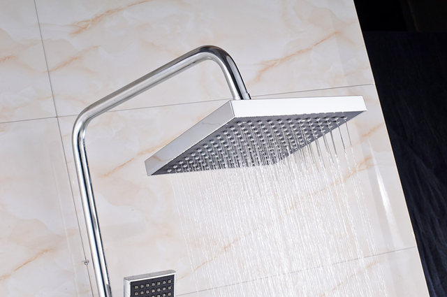 Promotion Wall Mounted Bath Shower Faucets Set Chrome Square 8