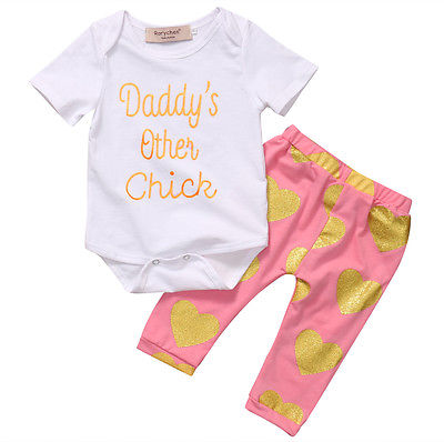 2pcs Set Baby Girls Clothes Top Bodysuit Long Pant Newborn Toddler Outfit Fashion Clothing Set 0-18Month