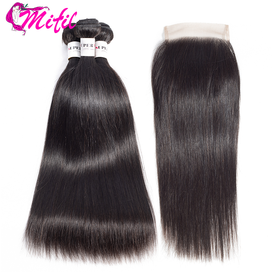 Mifil Peruvian Straight Hair Human Hair Bundles With Closure Natural Color Bundles Non Remy Extensions with