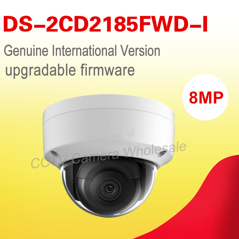 In stock Free shipping English version DS-2CD2185FWD-I 8MP WDR Dome Network cctv ip Camera POE, IP67, IR, IK10, no audio,H.265+ free shipping in stock new arrival english version ds 2cd2142fwd iws 4mp wdr fixed dome with wifi network camera