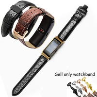 PEIYI Alligator leather strap black brown replacement genuine leather watchband for Huawei B3 B5 men and famale bracelet