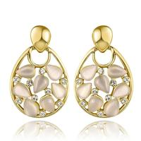 ORP Top Selling High Quality 18K Real Gold Plated Opal Zircon Water Drop Stud Earrings For