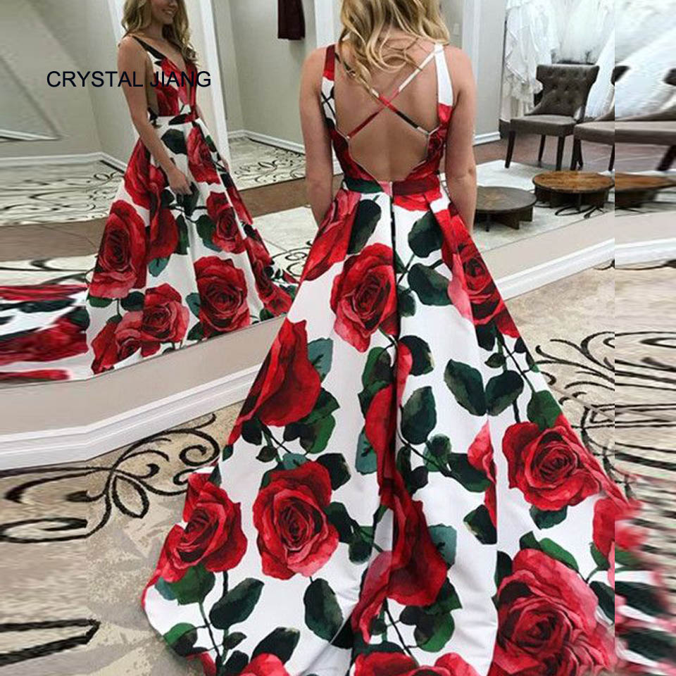 2018 Vestido De Festa Longo Sexy Sheer V Neck Floral Printed Dress Long Elegant Evening Gowns Robe De Soiree Longue 2018