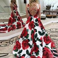 2018 Vestido de festa longo Sexy Sheer V neck Floral Printed Dress Long Elegant Evening Gowns robe de soiree longue 2018