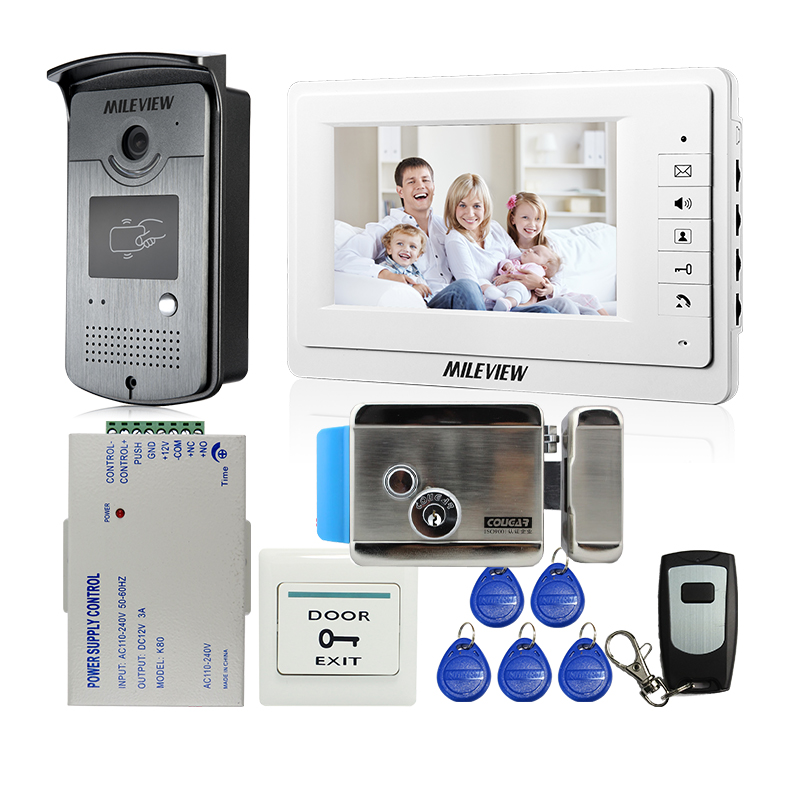 MILEVIEW Wired 7 LCD Video Door Phone Intercom Entry System 1 White Monitor + RFID Access Camera + Lock In Stock FREE SHIPPING raykube wired video door phone intercom entry system 7 inch lcd monitor rfid reader
