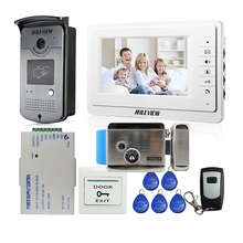 MILEVIEW Wired 7″ LCD Video Door Phone Intercom Entry System 1 White Monitor + RFID Access Camera + Lock In Stock FREE SHIPPING