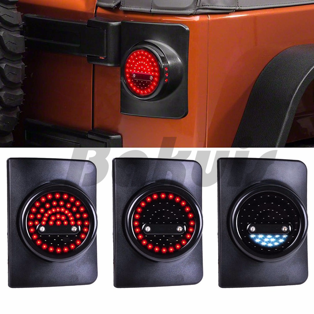 For Jeep Wrangler JK JKU LED Round Tail Lights, Attractive Design and Enhanced Vehicle Safety, Running/Brake Light, Turn Signal auxmart 22 led light bar 3 row 324w for jeep wrangler jk unlimited jku 07 17 straight 5d 400w led light bar mount brackets