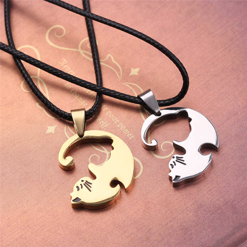 10a78c0da ... Cute Couple Jewelry Animal Pendant Black And White Cat Stitching  Necklace Simple Friendship Gift Gold White
