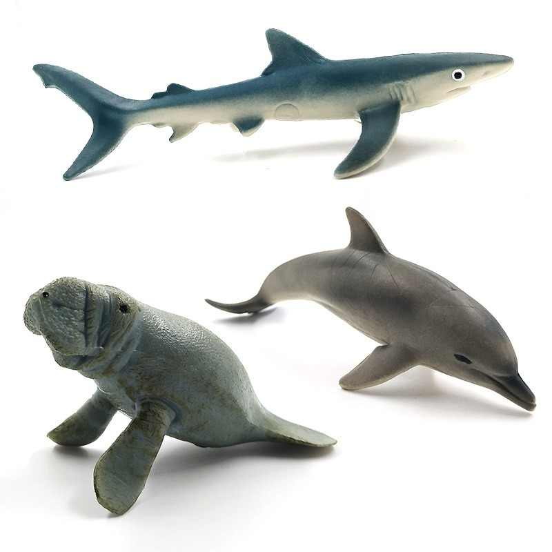 Simulation Sea Blue Shark Manatee Dolphin figure plastic animals model fairy craft figurine home decoration decor Gift For Kids