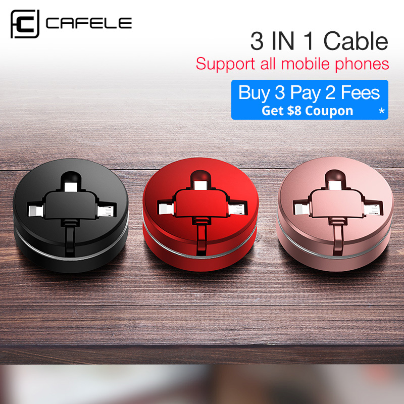 CAFELE 3 in 1 Micro USB Type C Charging Cable for iphone 8 7 6 Samsung Huawei Xiaomi Universal Retractable Data USB Cable