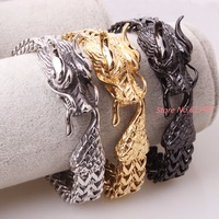 12mm Wide Punk Style Animal Dragon Head Braided Wheat Chain Link 316L Stainless Steel Bracelet Mens Chain Jewelry