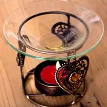 Suporte de Vela clássico Dispositivo Bronze Forno Aromaterapia Aroma do Óleo Círculo Suporte de Vela Com Copo De Vidro
