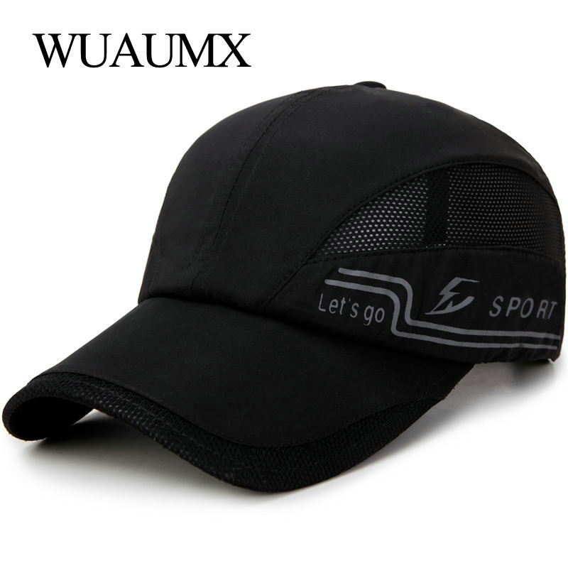 Wuaumx Brand Quick Dry Baseball Caps With Mesh Women 39 s Summer Hat Trucker Cap Men Sport Sun Hat Breathable Bone Snapback Unisex in Men 39 s Baseball Caps from Apparel Accessories