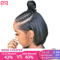 360 Lace Frontal Wig Pre Plucked With Baby Hair Straight Short Human Hair Wigs For Women Black Bob Wig Lace Front Remy Full Ends