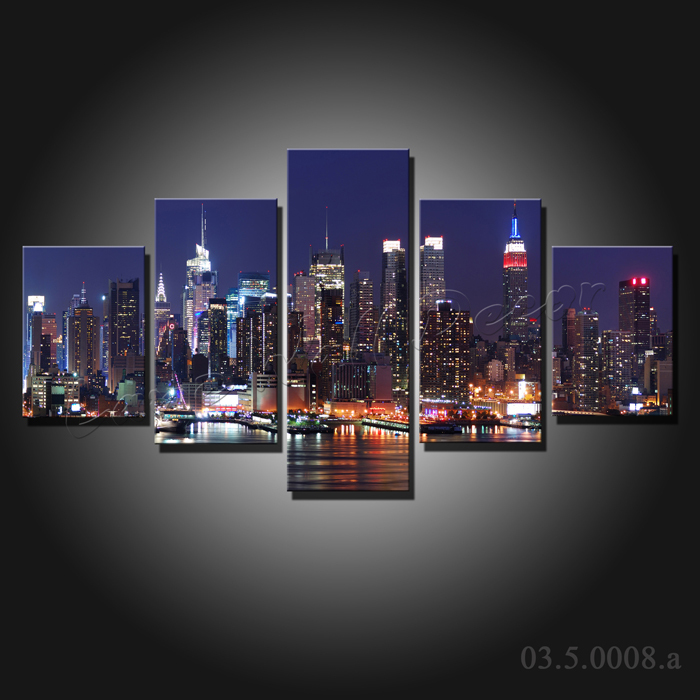5 pieces large canvas painting New York City at night canvas prints ...