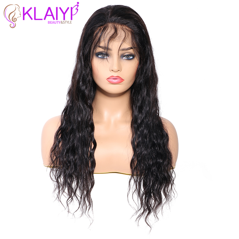 Klaiyi Natural Wave Human Hair Wigs 13X4 Pre Plucked Wigs For Black Women 10-24 Inch Human Wigs 150% Density Remy Hair