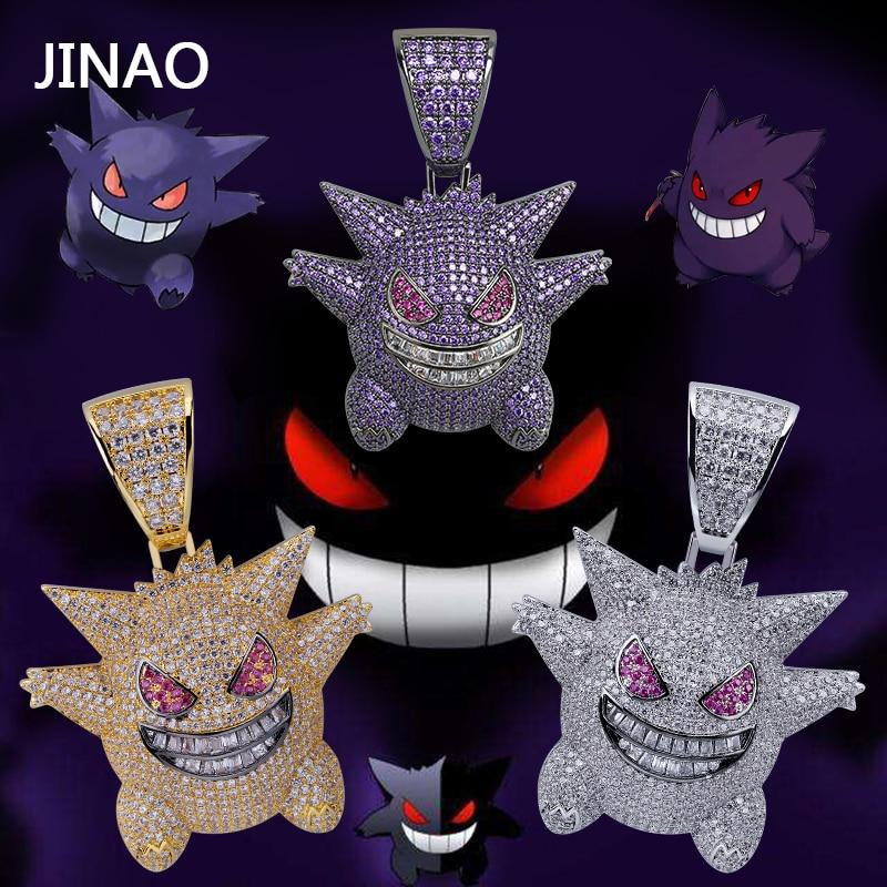 JINAO Hip Hop joyería máscara Pokemon collar nueva llegada Pokemon colgante de circón cúbico collar de cobre helado cadena regalo para hombre