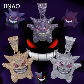 85c3044cbb3d JINAO Hip Hop joyería máscara Pokemon collar nueva llegada Pokemon colgante  de circón cúbico collar de cobre helado cadena regalo para hombre