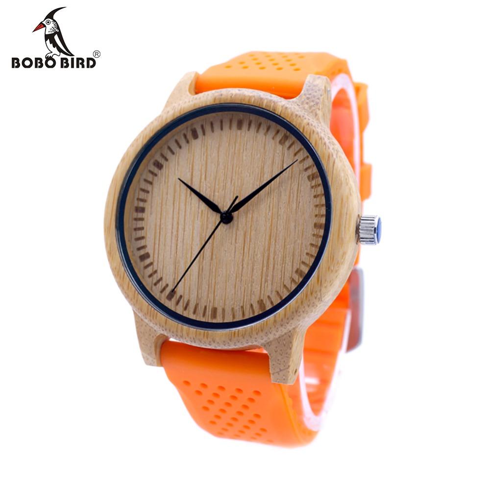 Prix pour Bobo bird hommes conception bambou bois montre à quartz japonais mouvement à l'intérieur avec bracelet en silicone souple casual dames montre pour le cadeau