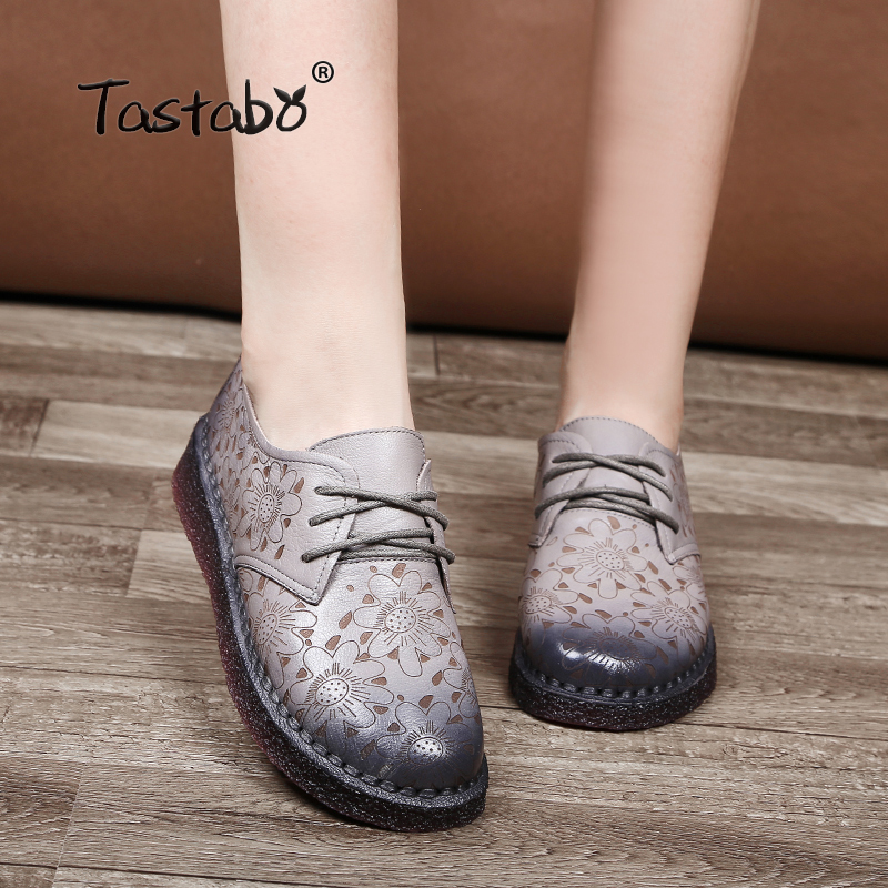 Tastabo Print Flower Flat Shoe Pregnant Women Shoe Mother Driving Shoe Female Moccasins Women Flats Hand-Sewing Shoes цена