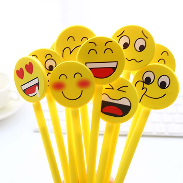 12PCS Funny Gel Pen Emoji Party Favor Kids Happy Birthday Supply Gift For Girl Boy Souvenirs Baby Shower Decoration