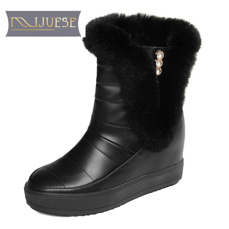 MLJUESE 2018 women boots rabbit hair fur crystal increasing wedges boots size 33-40 winter boots snow boots party dress