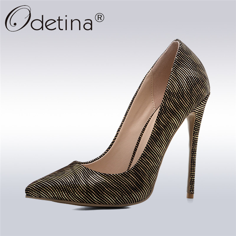 Odetina New Fashion 2018 High-heeled Pointed Toe Pumps Women Sexy Stiletto Heels Dress Party Shoes Thin High Heels Plus Size 43