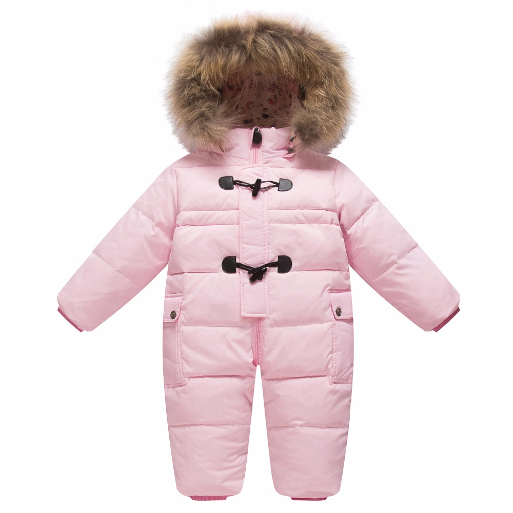 Children's winter jumpsuit for girls boys baby wear romper infant hooded duck down jacket fur collar newborn coat snow clothes infant snowsuit new toddler boys girls winter suits thermal down jacket thickening jumpsuit fur collar baby snow wear