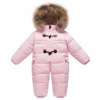 Children's winter jumpsuit for girls boys baby wear romper infant hooded duck down jacket fur collar newborn coat snow clothes