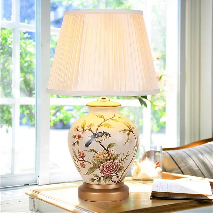 Elegant Foyer Table Lamps : Chinese style white flower bird ceramic art table lamps