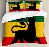 Rasta Duvet Cover Set Rastafarian Flag with Judah Lion on Reggae Music Inspired Decor Image 4 Piece Bedding Set