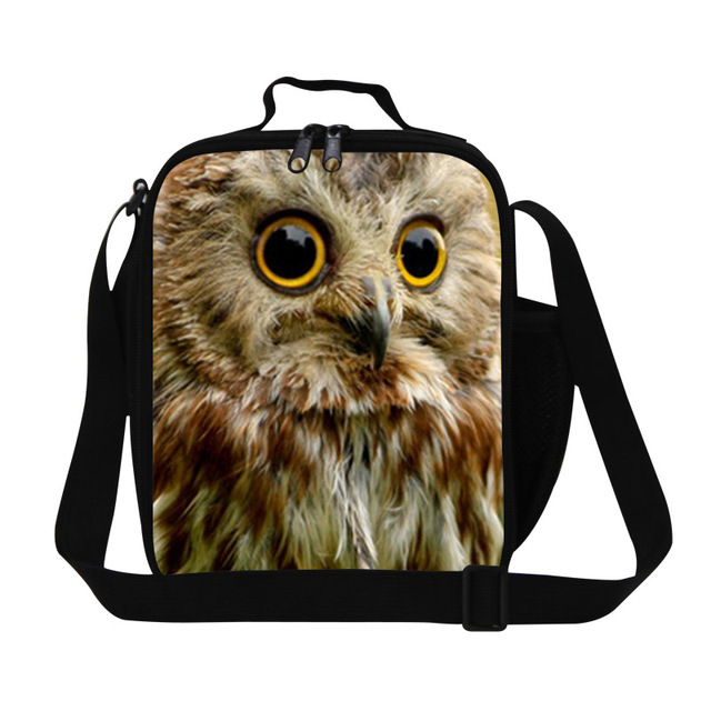 Dispalang Animal Insulation Lunch Bags Owl 3D Print Kids Food Container Bolsa Termica Lancheira Cool Small Lunch Box For Men