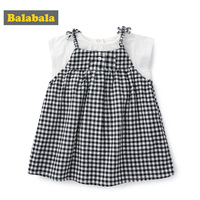 BalabalaBaby Girls Clothes Kids Set Fashion Bow Short Sleeve T Shirt +Jumpsuit Baby Girls Clothing Set Kids Cartoon Clothes Set