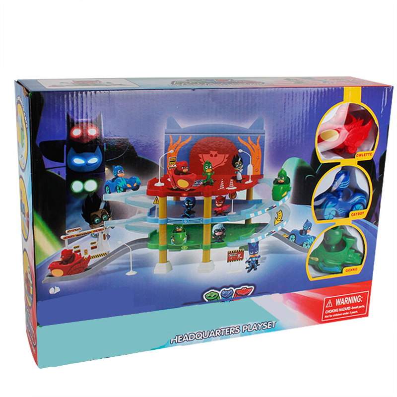 Heroes Pajamas Masks Headquarter Playset 3 Action Figures Owlette Catboy Gekko 3 Cars Tracks Parking Center Birthday Gift pj cartoon pj masks command center car parking toy lot car characters catboy owlette gekko masked figure toys kids party gift