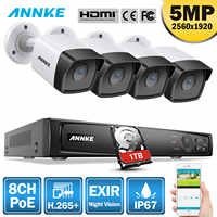 ANNKE 5MP H.265 + Super HD PoE wideo sieciowe System bezpieczeństwa 4 sztuk wodoodporna zewnętrzna POE kamery ip Plug & Play kamera PoE zestaw