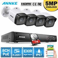 ANNKE 5MP H.265 + Super HD PoE Network Video Sistema di Sicurezza 4pcs Esterna Impermeabile Telecamere IP POE Plug & gioco di PoE Della Macchina Fotografica Kit