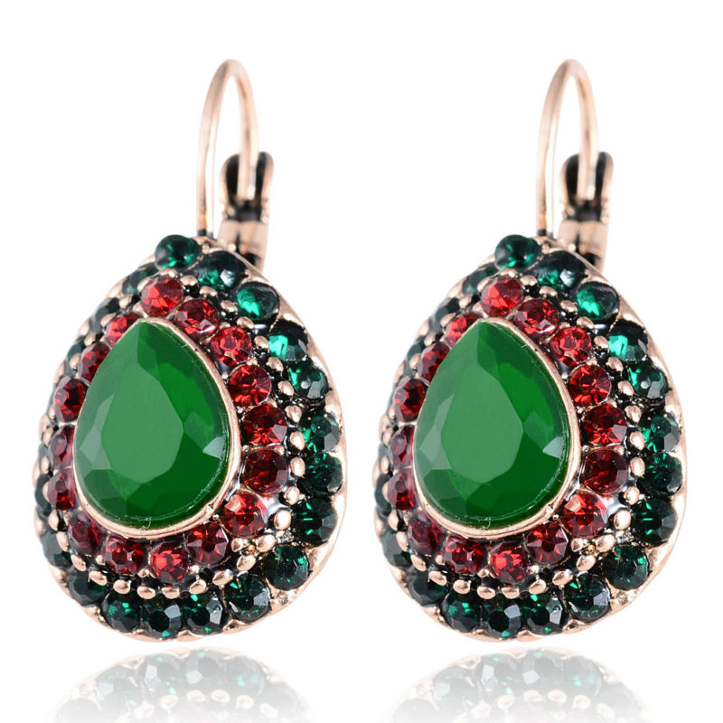 2018 New Women Vintage Ethnic Earrings Retro Style Colorful Bead Crystal Rhinestone Drop ...