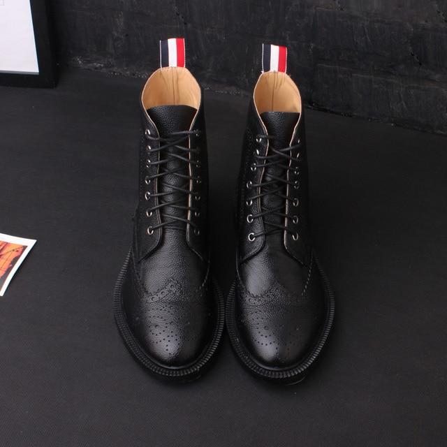 a7edf2af78b thom browne latest European fashion Carved men short boots-in Mid ...